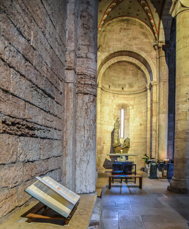 TRENTO, Italy - february 21, 2018: interior of the abbey of san Lorenzo, Trentino Alto Adige, Italy