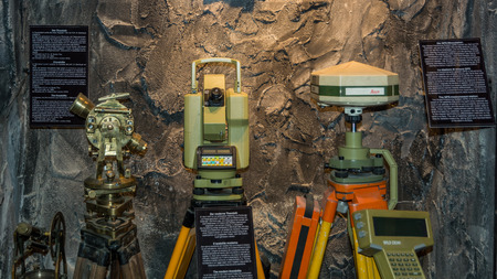 Ridnaun Valley (Ridanna) in South Tyrol, Italy - may 27,2017: interior hall of South Tyrol mining Museum. the miners tools in mines: old Theodolite and moderne Theodolite Editorial