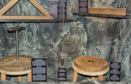 Ridnaun Valley (Ridanna) in South Tyrol, Italy - may 27,2017: interior hall of South Tyrol mining Museum. the miners tools in mines. The wax disc whit compass. Editorial