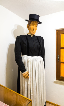 Ridnaun Valley (Ridanna) in South Tyrol, Italy - may 27,2017: interior hall of South Tyrol mining Museum: Maria Fassnauer: South Tyrolean showwoman; (presumably) tallest woman of her time