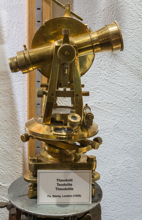 Ridnaun Valley (Ridanna) in South Tyrol, Italy - may 27,2017: interior hall of South Tyrol mining Museum. the miners tools in mines: exposure of an ancient theodolite Editorial