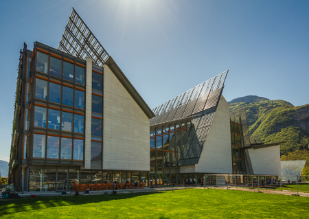 Trento, Italy, 19 april 2018 - The MuSe museum in Trento - Museum of Natural History designed by architect Renzo Piano Editorial
