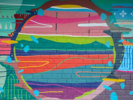 Street art abstract background with frame and copy space. Colorful grafitti on the wall
