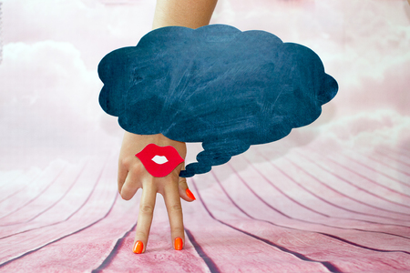 Female hand with two fingers down smile and red lips on a pink background and regional thoughts
