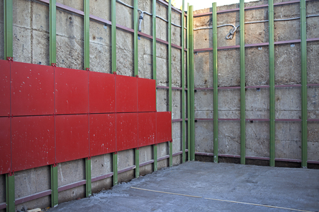 Arrangement of ventilated facade. Aluminum colored facades.