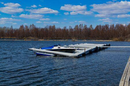 Berth on the lake in Russia. Marina