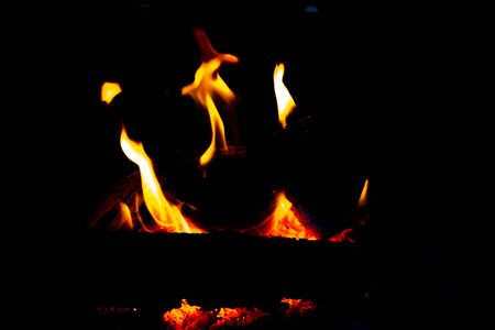 Blazing camp fire. Burning wood at night