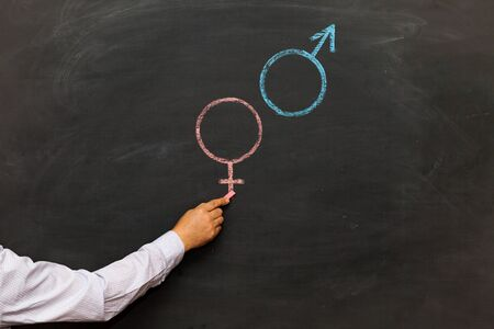Gender symbols or signs for the male and female drawn on a blackboard. Sex Ed