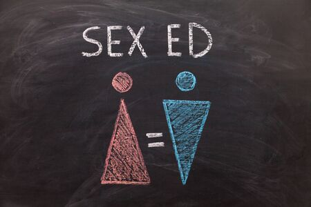 The female gender symbol is equal to the male concept of gender equality. Concept Sex ED