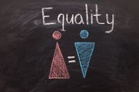 The female gender symbol is equal to the male concept of gender equality. Concept