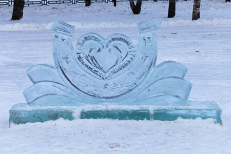A horseshoe of ice. A symbol of good luck. New Year Stockfoto