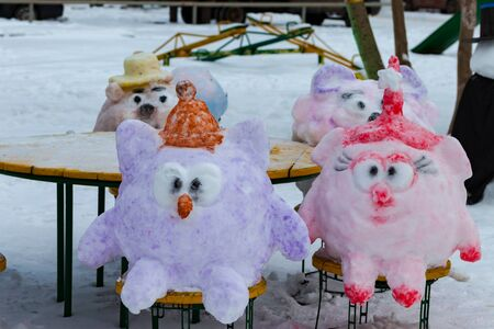 The characters of the cartoon Smeshariki of snow. Snow figures. New year 2020. Russia
