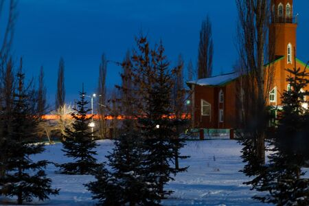 Mosque at night in the Republic of Bashkortostan, Russia. Night, winter, sunset. a frosty winter evening Stockfoto
