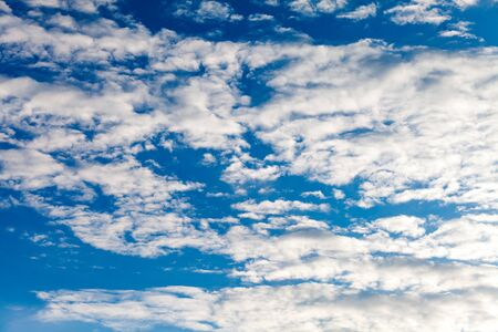 Beautiful cirrus clouds against the blue sky. Stockfoto