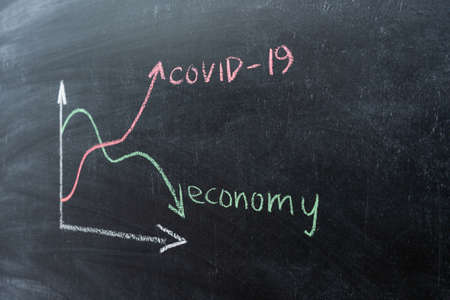 The concept of the crisis associated with the COVID-19 pandemic. Economic chart on a chalkboard