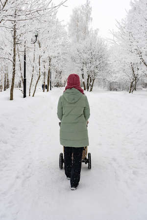 Mom with a stroller walks through the winter park after a snowstorm. Russia