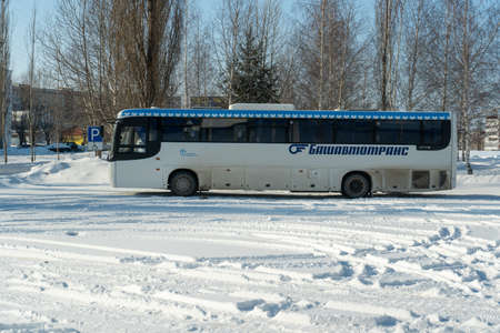 Agidel, Russia - February 15, 2021: City bus Nefaz at the bus station.