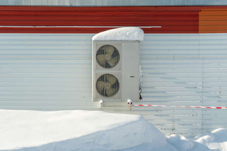 Air conditioner on the facade of an industrial building Stock fotó