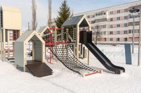 Beautiful playground for children in Russia in winter Stock fotó