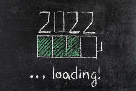 battery loading indicator showing 2022 loading drawn on chalkboard
