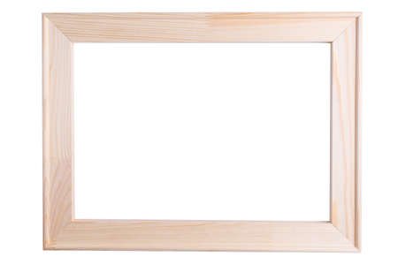 Wooden frame isolated on white background. Canvas stretcher Stock fotó