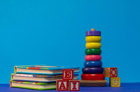 books and toys as early education concept