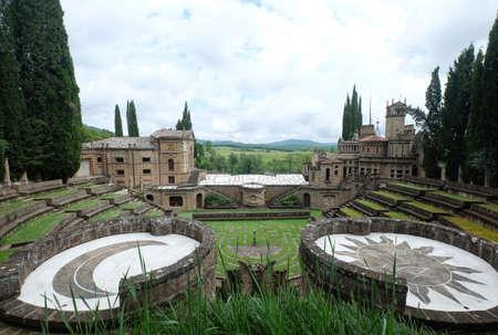 June 2016-The architectural folly garden of La Scarzuola, built by Tomaso Buzzi. The amphitheatre, Umbria, Italy,