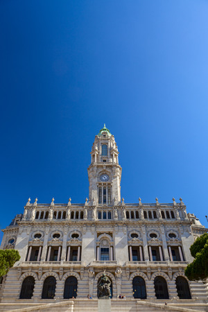 blu sky: hall facade in the city of porto
