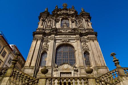 blu sky: clerigos church facade in the city of porto Stock Photo