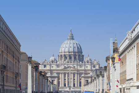 solemnity: amazing san peter basilica view in the city of rome
