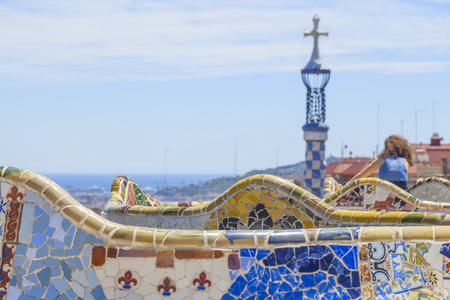 catalunia: beautiful park guell in the city of barcelona