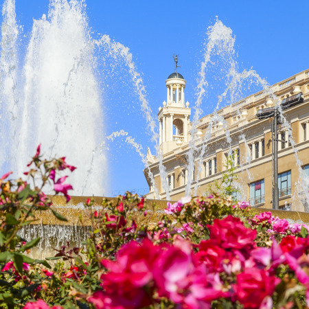 spurt: beautiful fountain in catalonia square in the city of barcelona