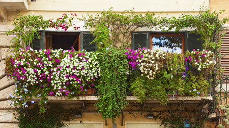 beautiful balcony with amazing flowers Stock Photo
