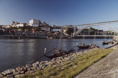 luis: vintage porto view under the luis bridge Stock Photo