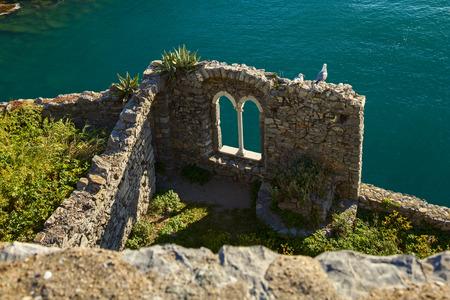 ruin: beautiful castle ruin on portovenere coast