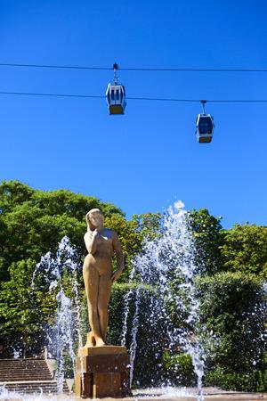 spurt: beautiful fountain in montjuic garden in the city of barcelona