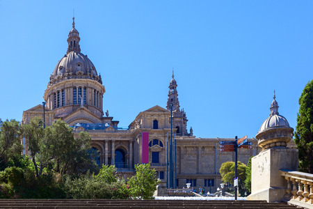 amazing national art museum of catalonia in the city of barcelona Editorial