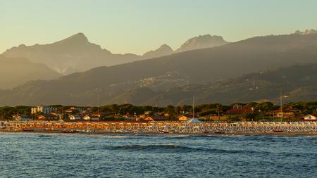 forte: amazing versilia coast view on the sunset