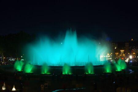 beautiful magic fountain in the city of barcelona