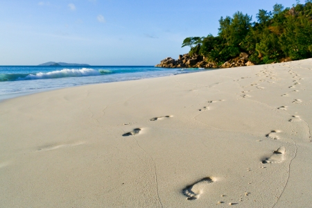 Footsteps on a seychelles beach photo