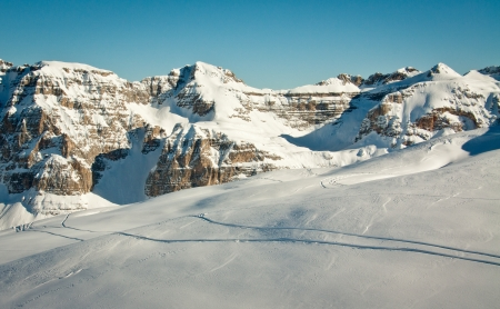 ski traces: View of Alps mountain with ski traces