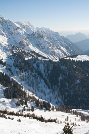 ski traces: View of Dolomite of Brenta towards Cima tosa in Italian Alps mountain with ski traces in the snow   Stock Photo