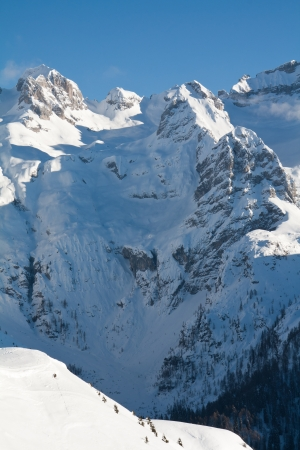 ski traces: View of Dolomite of Brenta towards Cima tosa in Italian Alps mountain with ski traces in the snow