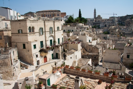 sassi: Cityscape view of Sassi di Matera, toward sasso Barisano, during a summer sunny day.