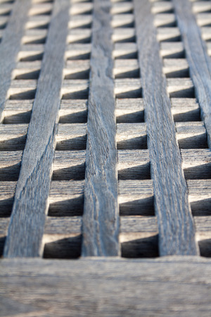 gangway: Boat gangway made with wood squares  close up Stock Photo