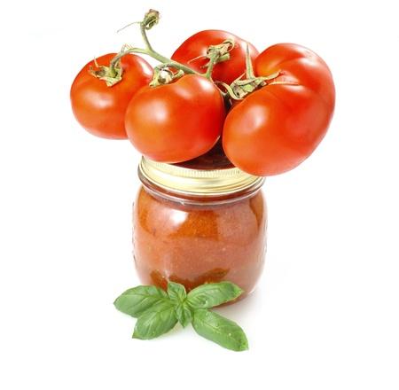 tomato paste: Tomato paste on white background Stock Photo