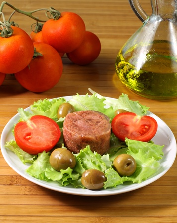 canned meat: Meat salad on table Stock Photo