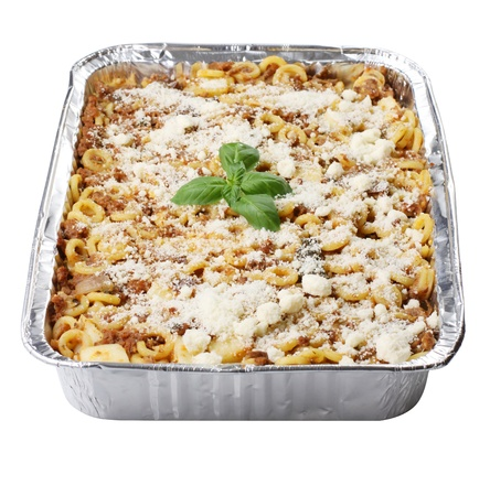 lasagna: Baked Pasta on white background