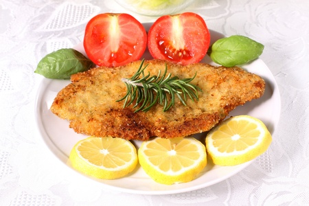 breaded: Cutlet meat on dish