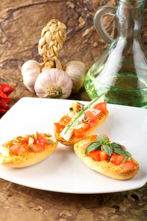 Bruschetta with tomato, garlic and olive oil, on complex background photo